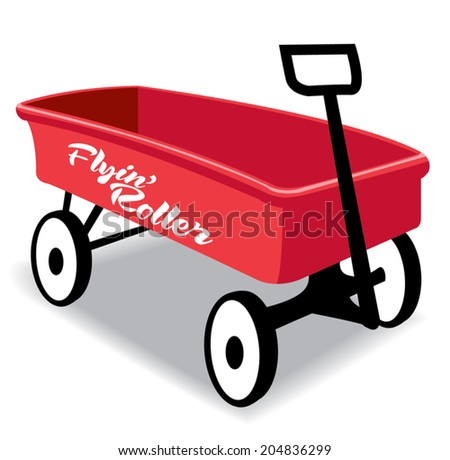 Red kid hand wagon, flying roller,metal - stock vector