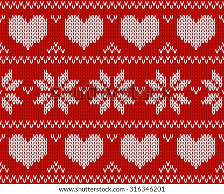 Red Knitted stars sweater in Norwegian style. Knitted Scandinavian ornament. Vector seamless pattern - stock vector