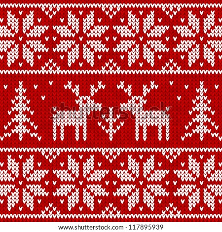 Red knitted sweater with deer seamless pattern - stock vector