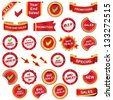 red label and icons set - stock vector