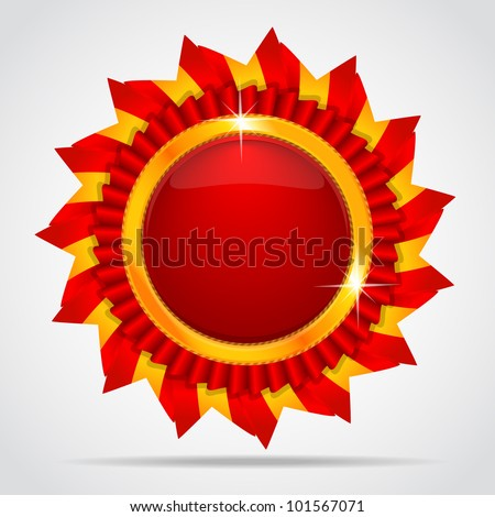 Red label in the form of the sun - stock vector