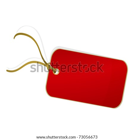 Red label on white background. Vector illustration - stock vector