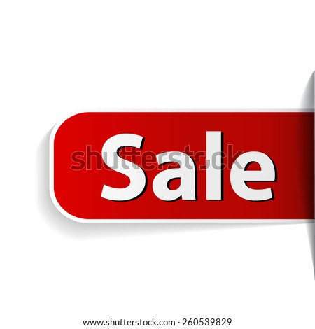 Red label with word sale inserting to slot - stock vector