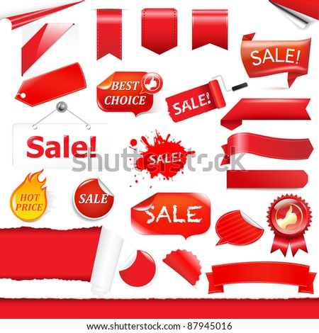 Red Labels And Ribbons Set, Isolated On White Background, Vector Illustration - stock vector