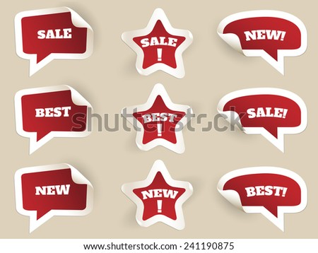 Red Labels. New, best and sale. Set of stickers by consumerism. Vector illustration - stock vector