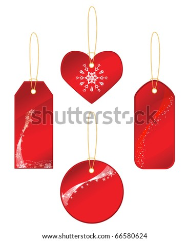 Red labels with a winter theme. Vector illustration