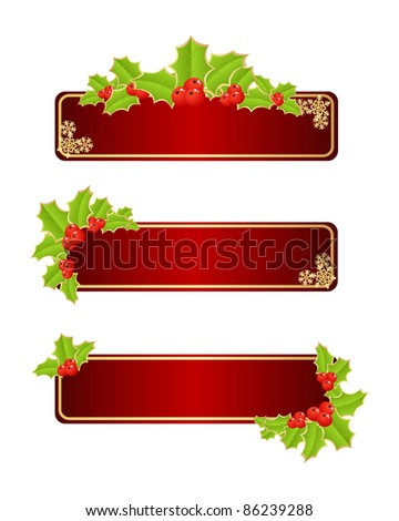 Red labels with christmas decorations. Vector illustration. - stock vector