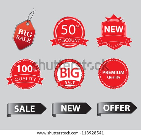 red labels with promotional information over gray background - stock vector