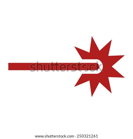 Red laser beam ray icon - stock vector