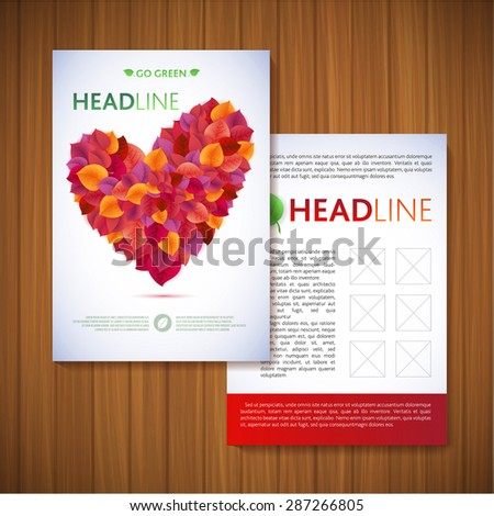 Red leaf heart Nature rainbow leaves concept card.  Vector leaf abstract background. Flyer, Brochure Design Templates. Leaves Natural and Ecology Concept . - stock vector