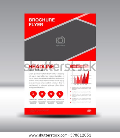 Red Leaflet Template Info Graphics Vector Stock Vector
