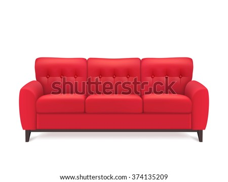 Red leather luxury sofa for modern living room reception or lounge  single object realistic design vector illustration  - stock vector