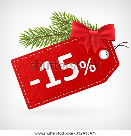 Red leather price christmas vector labels 15 percent sale off.  - stock vector
