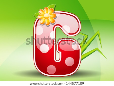 Red letter G with spots - stock vector