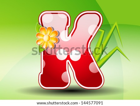 Red letter K with spots - stock vector