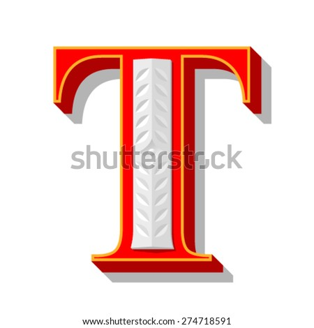 Red letter T. - stock vector