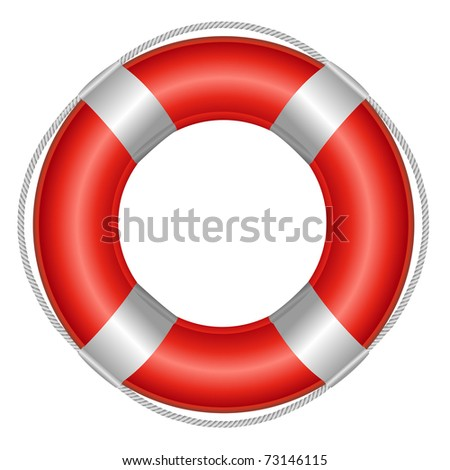 Red Life Buoy, Isolated On White Background, Vector Illustration - stock vector