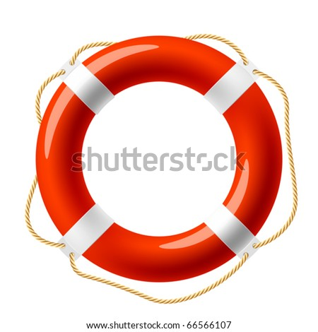 Red life buoy. Vector.