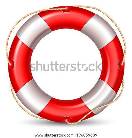Red lifebuoy isolated on white background. High detailed vector. - stock vector
