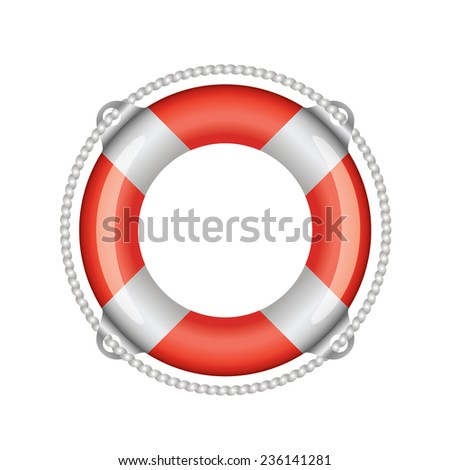 Red lifebuoy with white stripes (isolated)  - stock vector