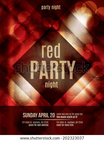 red light effect party invitation flyer template - Black Light Party Invitations