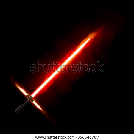 Red light future sword. From star war. Fire sword, light saber. Eps10 Vector illustration. - stock vector