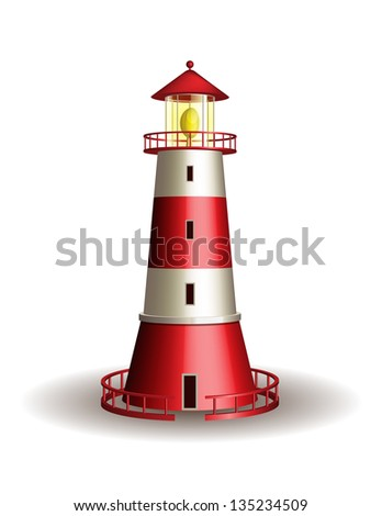 Red lighthouse isolated on white background. Vector illustration - stock vector