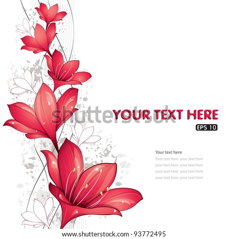 Red lilies design, vector illustration, eps-10 - stock vector