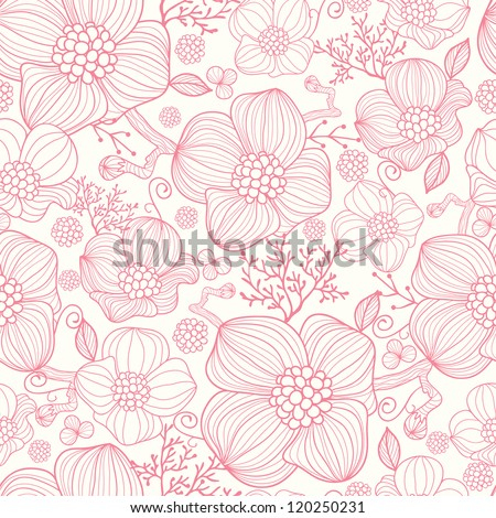 Red line art flowers seamless pattern background - stock vector