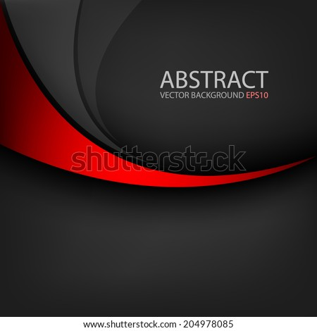 Red line curve on black background vector for text and message design - stock vector