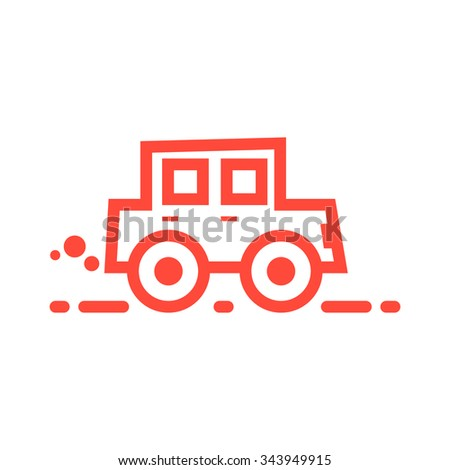 red linear car icon. concept of co2 pollution, car shipping, racing, car service, cartoon car icon, carriage. isolated on white background. flat style trend modern car logo design vector illustration - stock vector