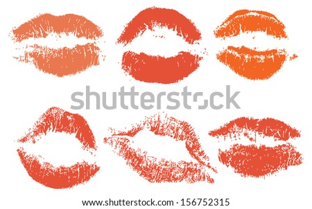 Red lips imprint isolated on white background, vector illustration, set - stock vector