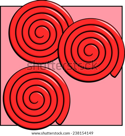 red liquorice wheels - stock vector