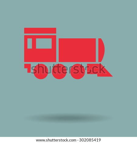 Red Locomotive icon . Vector illustration. - stock vector