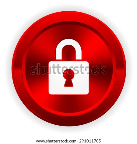 Red login button with icon on white background - stock vector