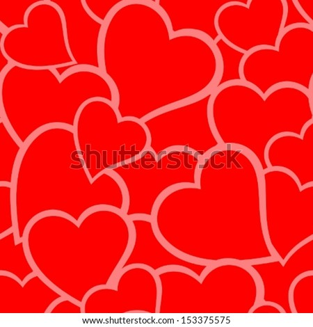 Red love background with seamless hearts pattern. - stock vector