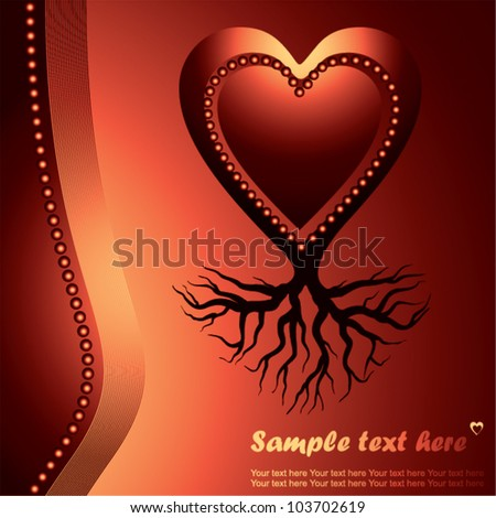 red love heart with root , symbol of stability - vector illustration - stock vector