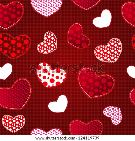 Red Love Valentin's Day Seamless Pattern on Craft Paper. Vector Illustration for your design - stock vector