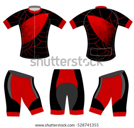 Red low poly on t-shirt vector design cycling vest on a white background