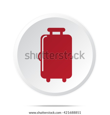 Red Luggage icon on white web button - stock vector
