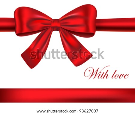 Red luxurious gift ribbons with bow. Vector illustration - stock vector