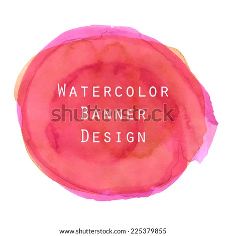 Red magenta watercolor circle banner background design. - stock vector