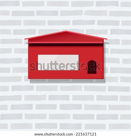 Red mail box on white brick wall texture. - stock vector