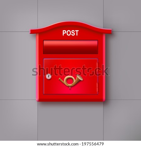 Red mailbox hanging on the wall with the  postal horn. - stock vector