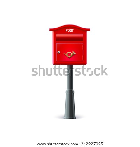 Red mailbox on the post. Illustration on white background. - stock vector