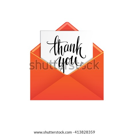 Red mailing envelope with a Thank you message. Vector icon. - stock vector