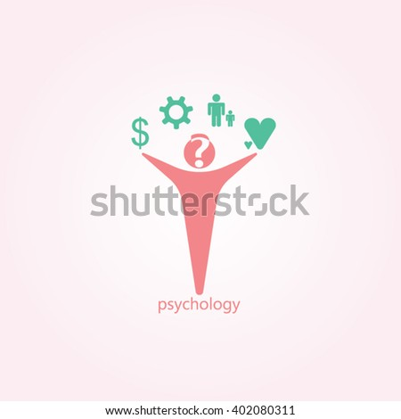 Red man green icon and gradients background for psychology logo design - stock vector