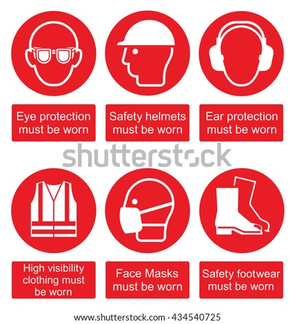 Red mandatory construction manufacturing and engineering health and safety signs to current British Standards isolated on white background - stock vector