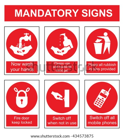 Red mandatory safety sign set isolated on white background - stock vector