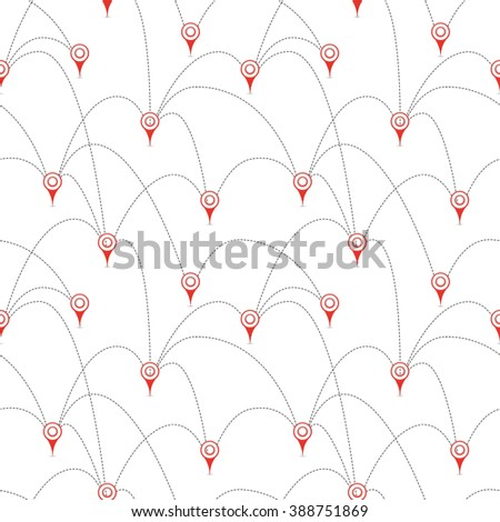 Red map pins with routes isolated on white, seamless pattern